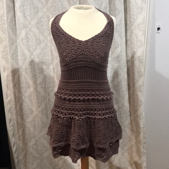 Moda International Dresses & Skirts - Moda halter crocheted lined dress brown